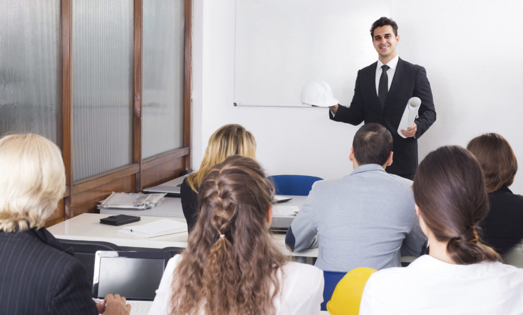 adult architects having advanced training courses in classroom