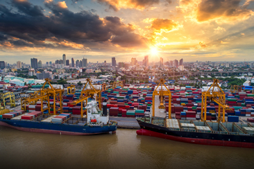 Container ship in import export and business logistics, By crane, Trade Port, Shipping cargo to harbor, Aerial view from drone, International transportation, Business logistics concept (Container ship in import export and business logistics, By crane,